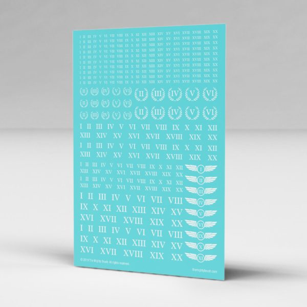 Roman Numerals Waterslide Transfers Decal Sheet (White)