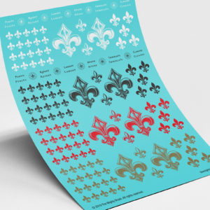 Fleur de lis white black red gold transfers