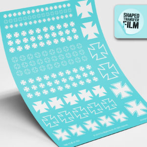 Iron crosses waterslide transfers sheet (white)