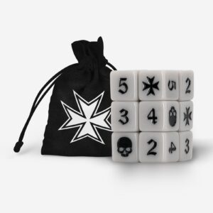 The Mighty Brush Knights Templar Dice Set Bone White