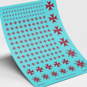 Knights Templar Maltese Cross Waterslide Transfers Decals - Red