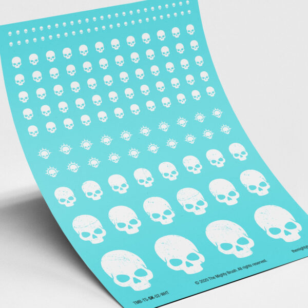 White skull waterslide transfers decals